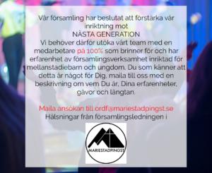 annons Mariestad pingst